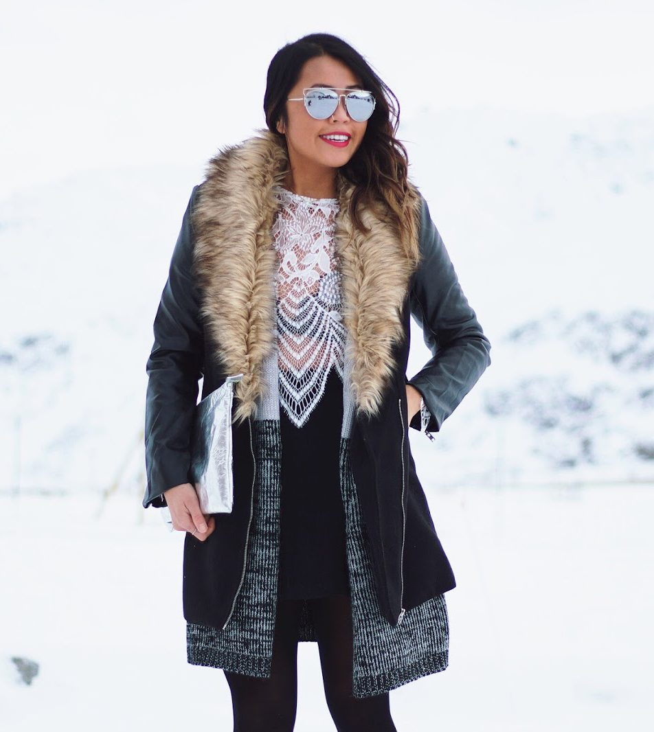 How To Wear A Skirt and Lace in the Winter