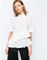 ASOS High Neck Ruffle Tiered Top With Short Sleeve at asos.com
