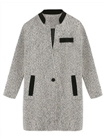 Gray Mixed Color Stand up collar Woolen Coat - Choies.com
