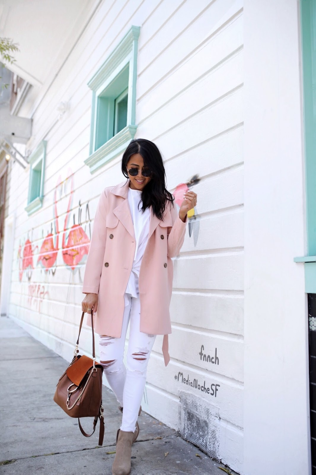 Abercrombie Blush Pink Trench Coat | What to do In San Francisco | Gypsy Tan