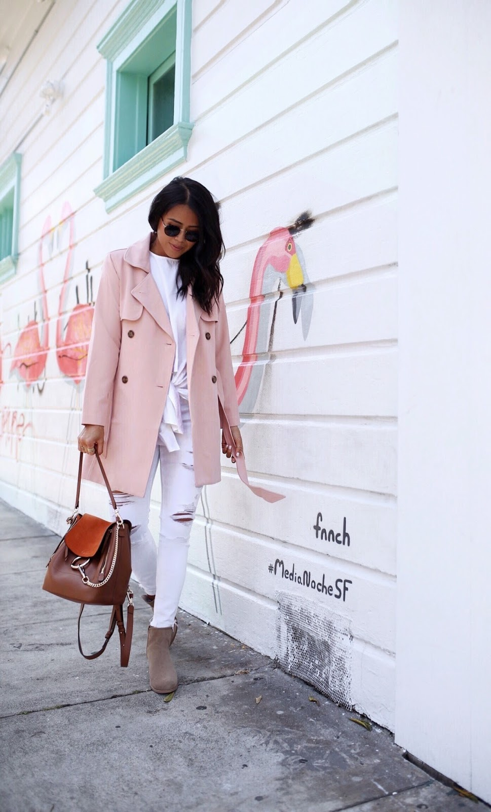 Pink Trench Coat Gypsy Tan Media Noche San Francisco
