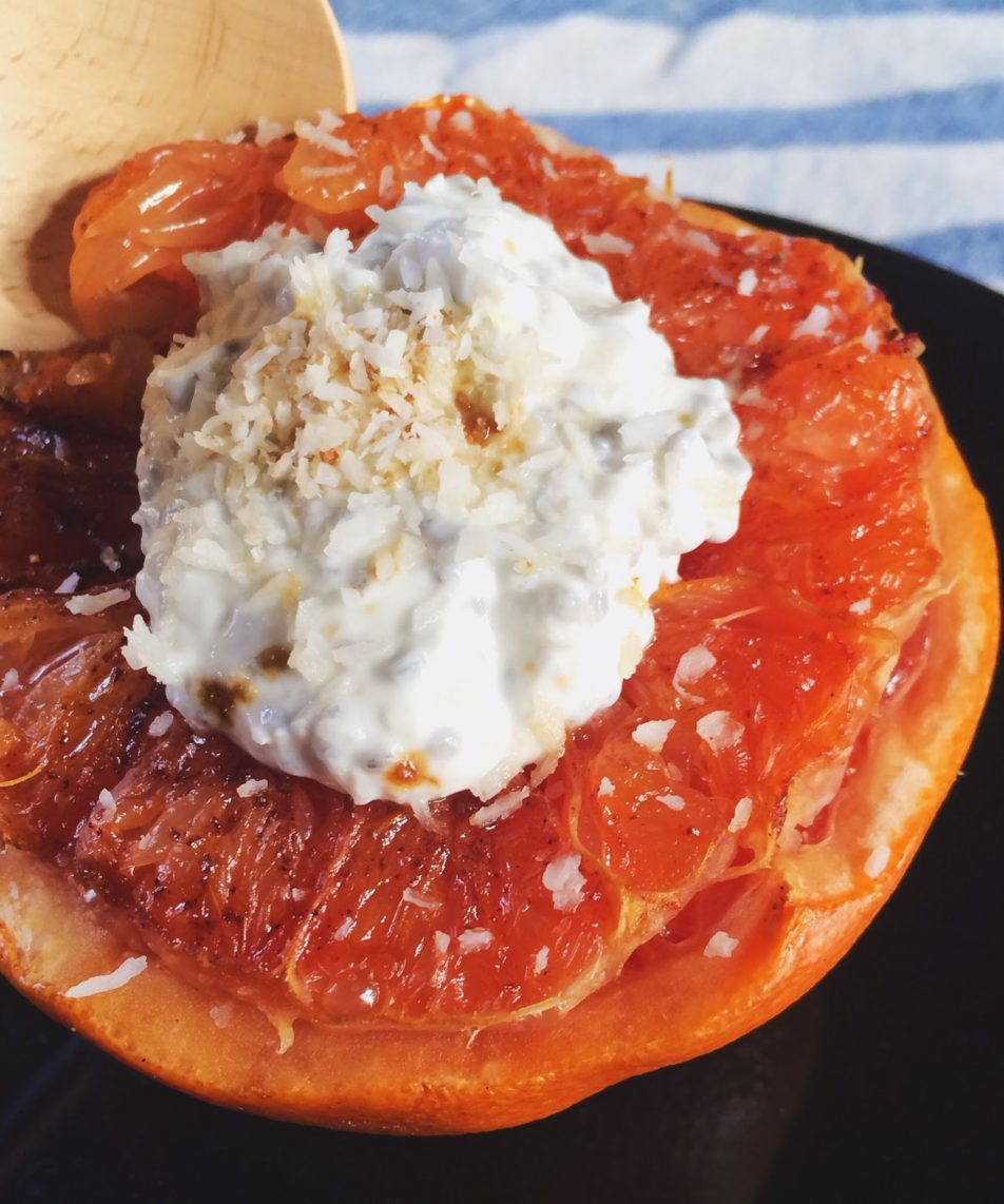 Broiled Grapefruit w/ Vanilla 'Cream'