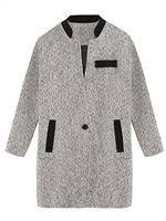 Gray Mixed Color Stand up collar Woolen Coat - Choies.com