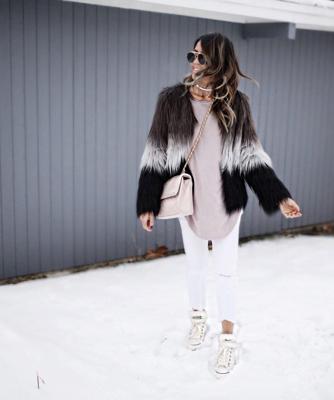 Trending: Ombre Fur Coat + Fur Lined Chuck Taylors