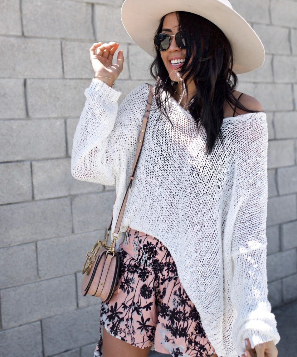 What To Wear In Spring: Light Sweaters and Printed Shorts