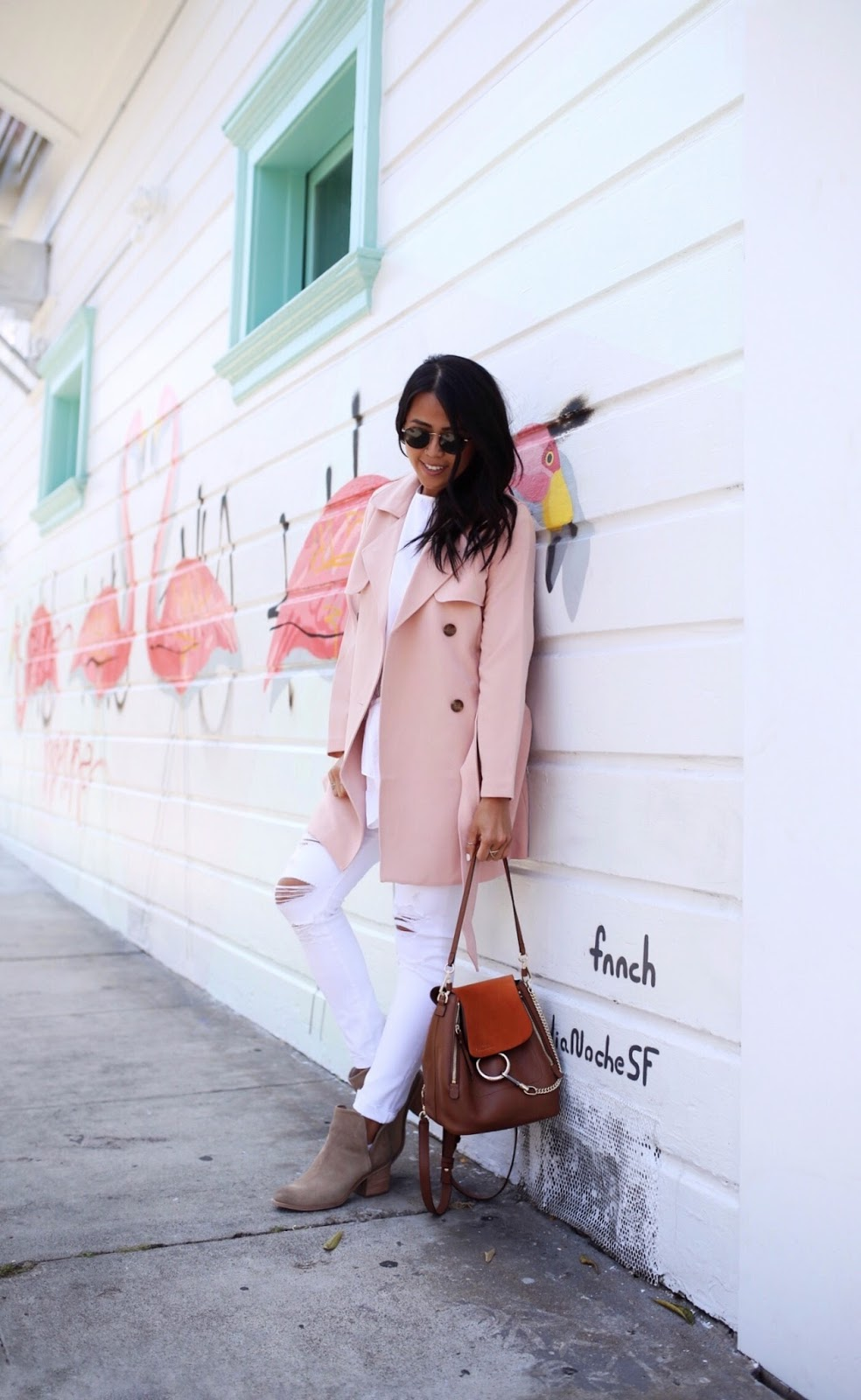 Abercrombie Fitch Blush Pink Trench Coat Gypsy Tan Chloe Backpack Faye