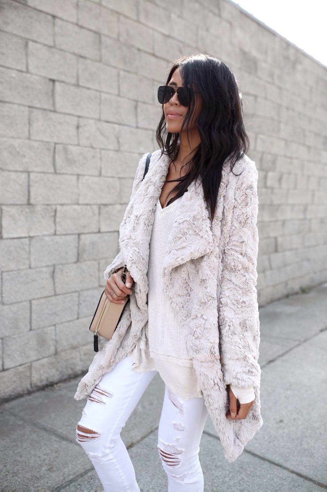 Free People Thermal Top BB Dakota Faux Fur Coat Gypsy Tan