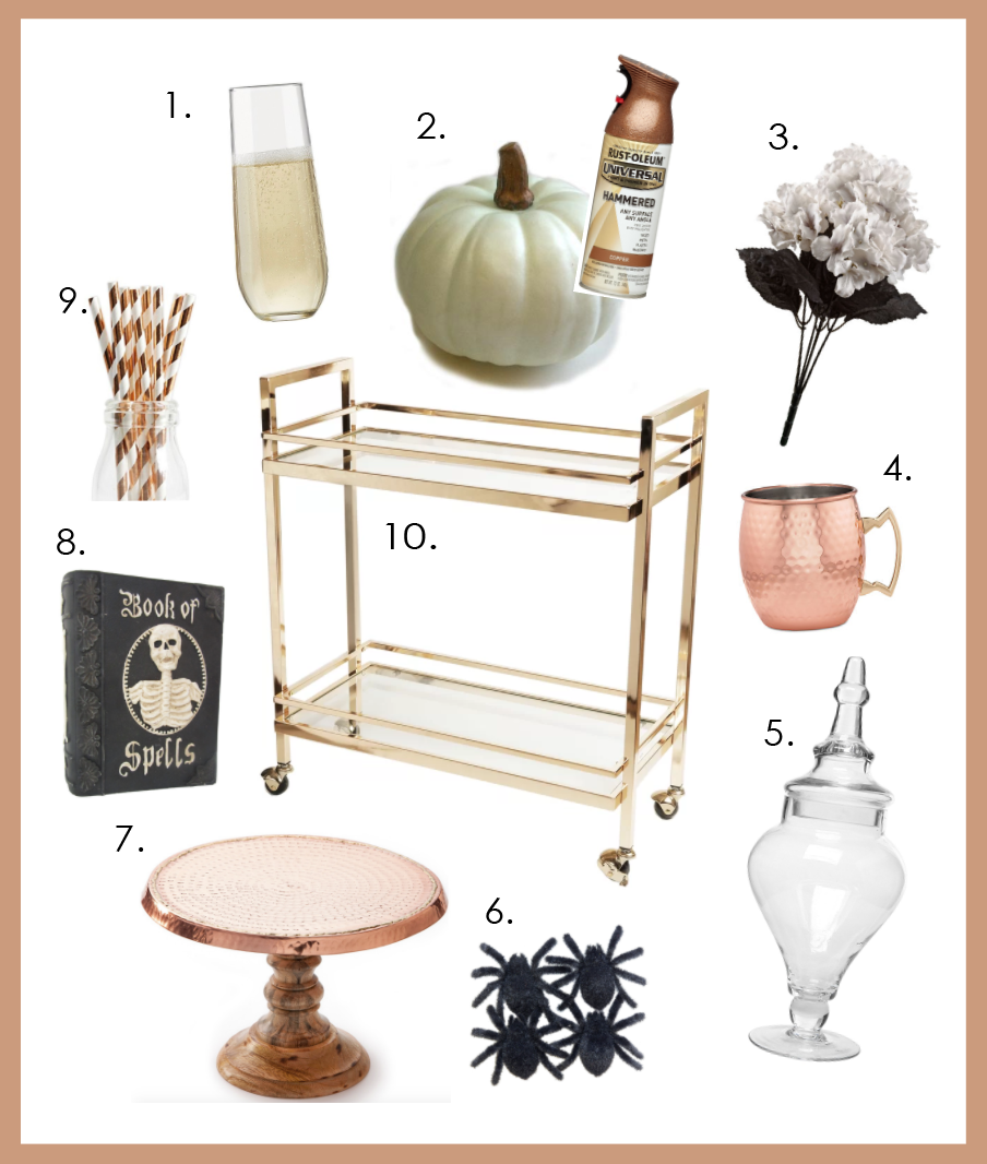 Bar Cart Styling Copper Halloween Fall