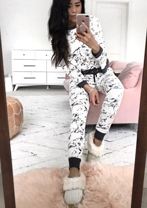 Marble Print Loungewear Ugg Slippers