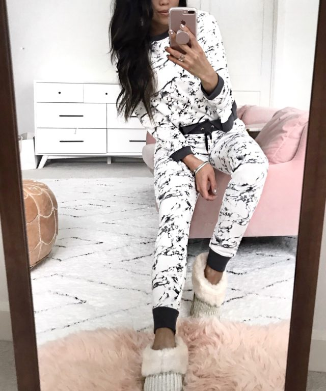 Marble Print Loungewear Ugg Slippers