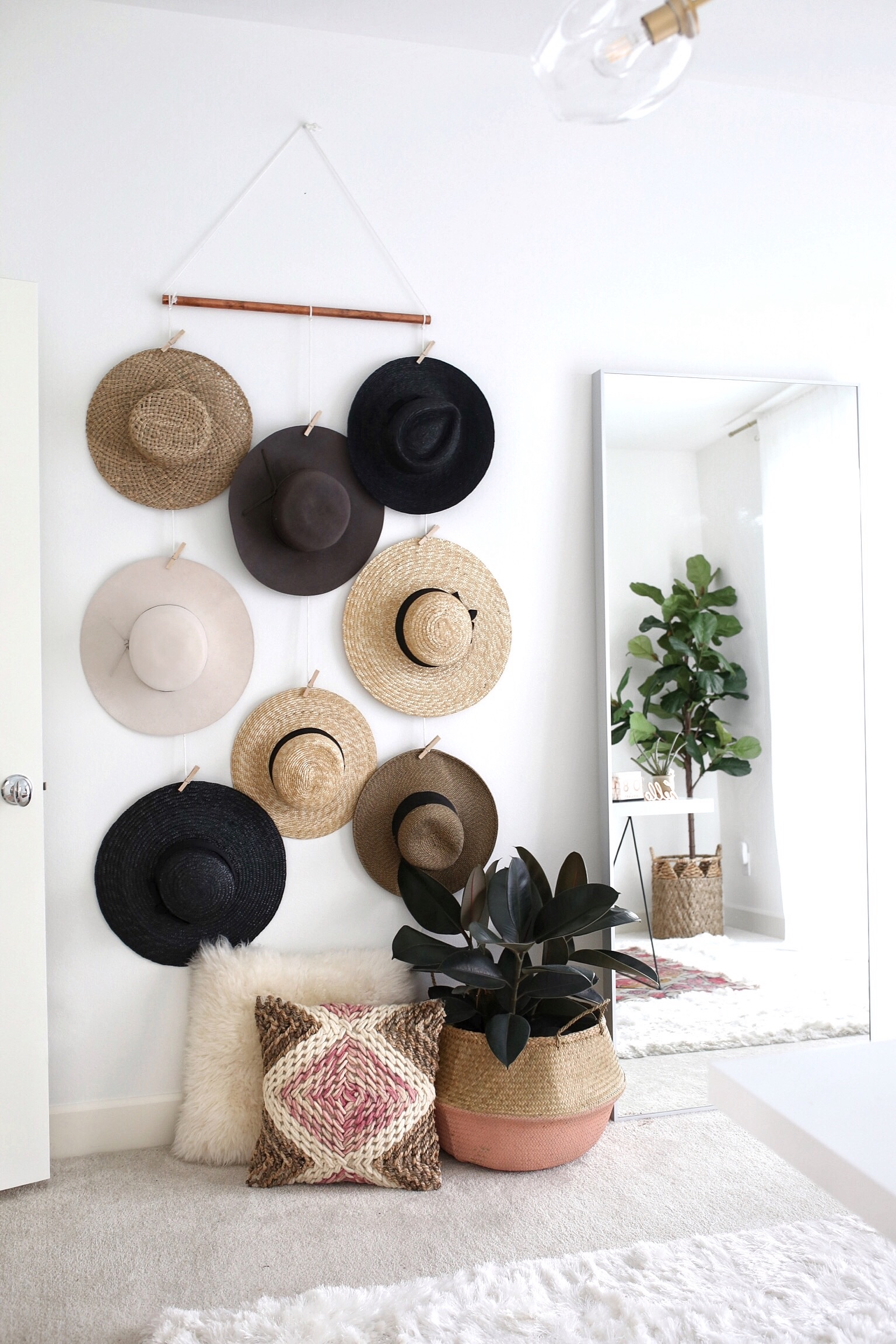 diy hat wall display gypsy tan