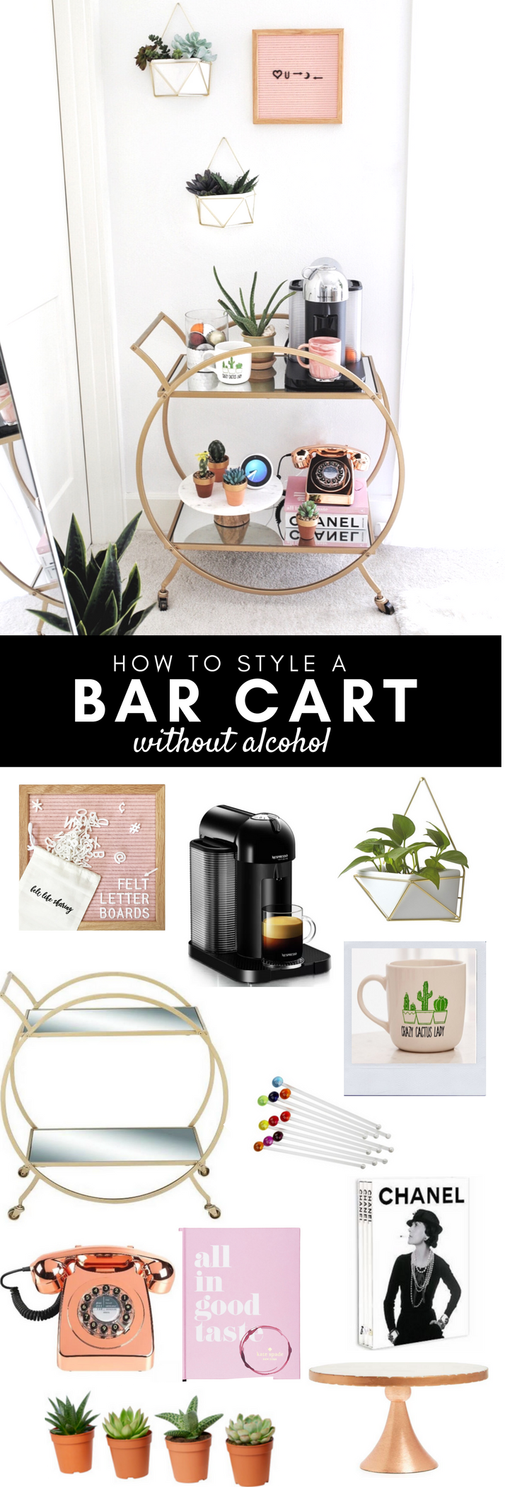 How To Style A Bar Cart Without Alcohol Gypsy Tan