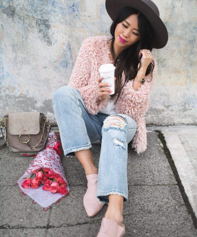 How to casually wear pink shaggy jacket